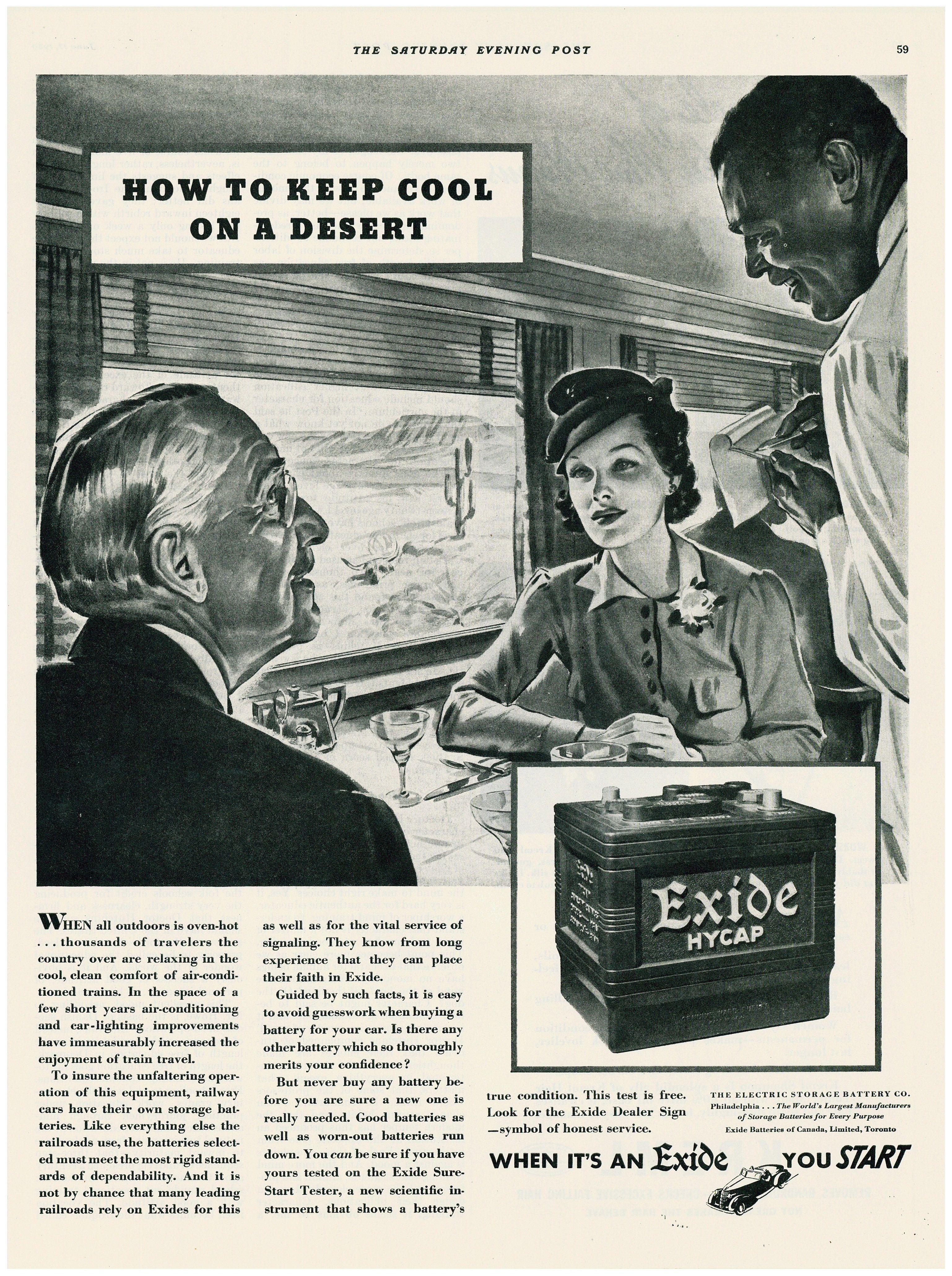 1939 Exide Battery Dinning Car Ad Car Car Ads Vintage Mechanics