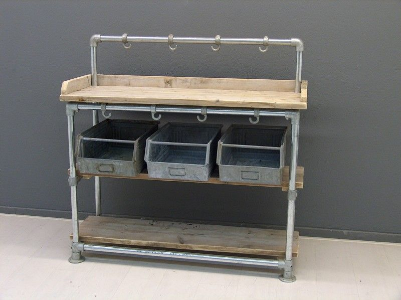 Industrial shelf made with reclaimed wood and Kee Klamp pipe fittings