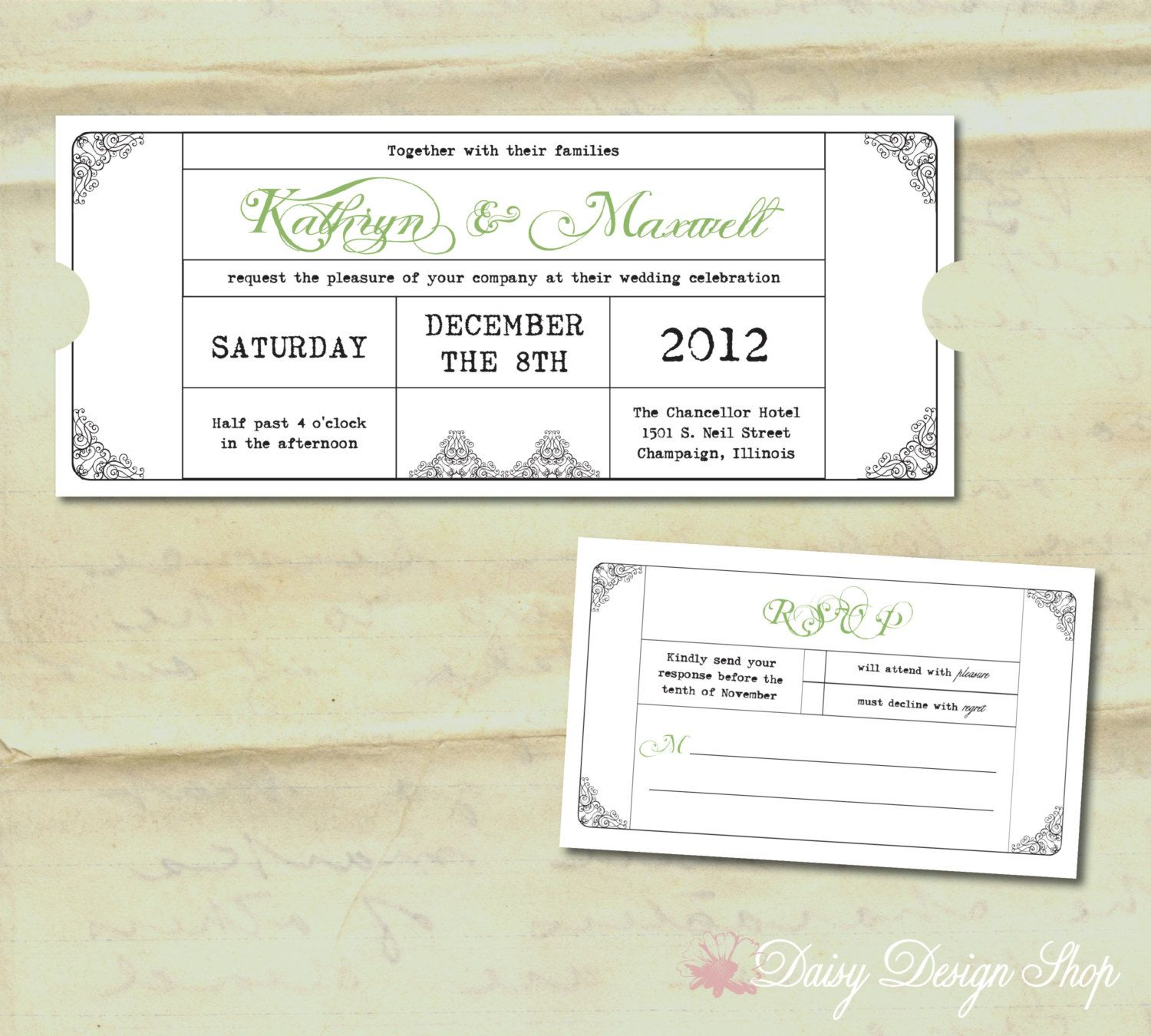 Wedding Invitation   Vintage Train Ticket   Invitation And RSVP Card With  Envelopes