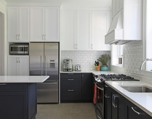 Dark Bottom Cabinets And White On Top