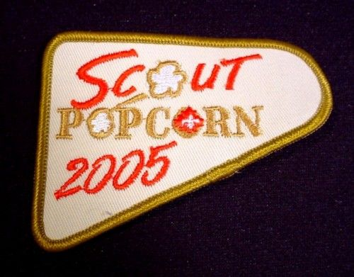 """Patch Badge 2005 Scout Popcorn, 3 3/4"""" Across, Scouting, Cubs, Beavers, Boy Scouts"""
