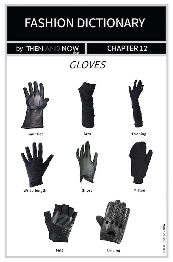 Gloves Infographic Types Of Gloves Then And Now Fashion Dictionary Fashion Terms Fashion Vocabulary