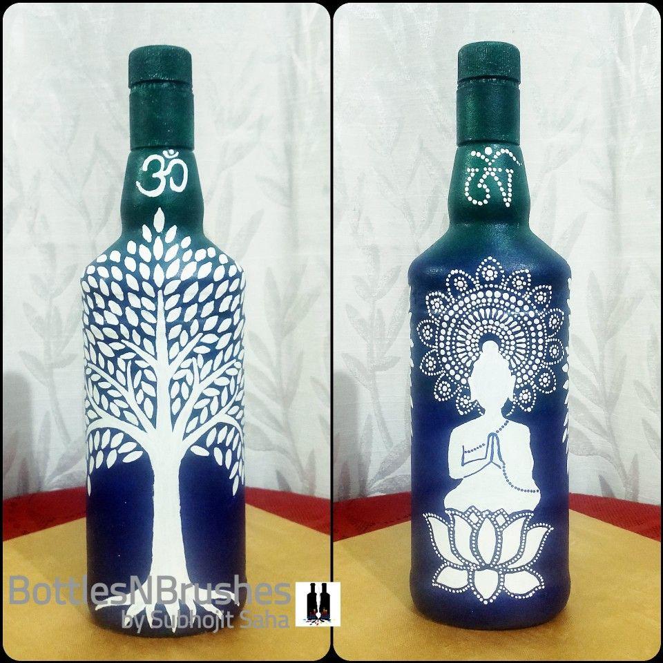 Bottleart Buddha And Tree On Bottle Nel 2020