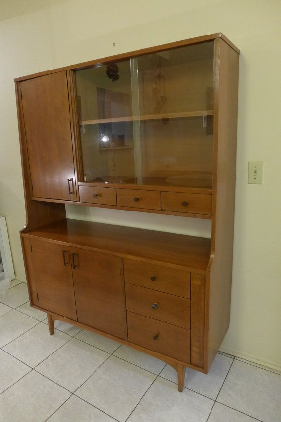 Mid Century Modern Walnut China Cabinet By Kroehler Inlaid Server Rosewood Handles Dining Room Furniture