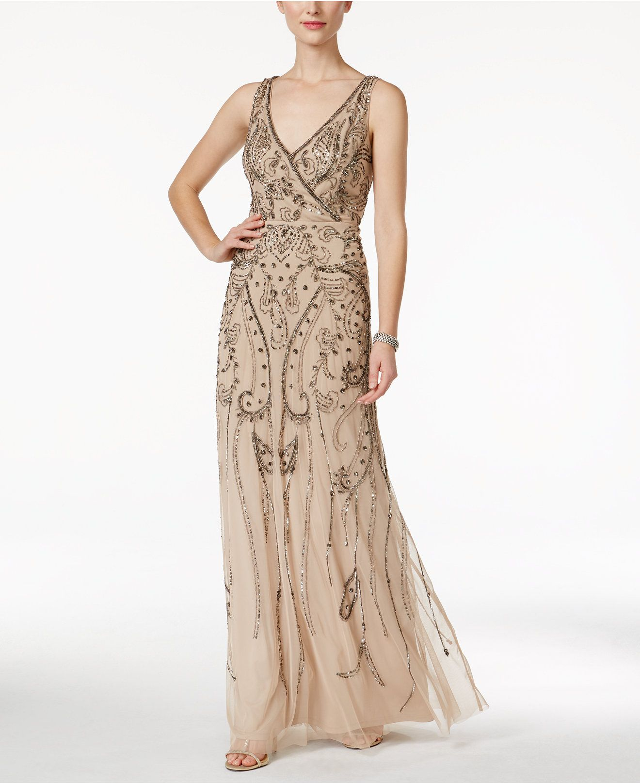 9e24fef0130 Adrianna Papell Beaded Surplice Evening Gown - Dresses - Women - Macy s
