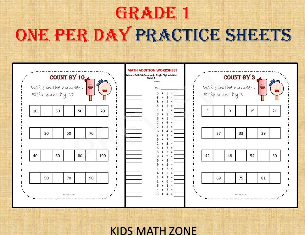 GRADE 1 MATH Workbook one per day (over 120 math