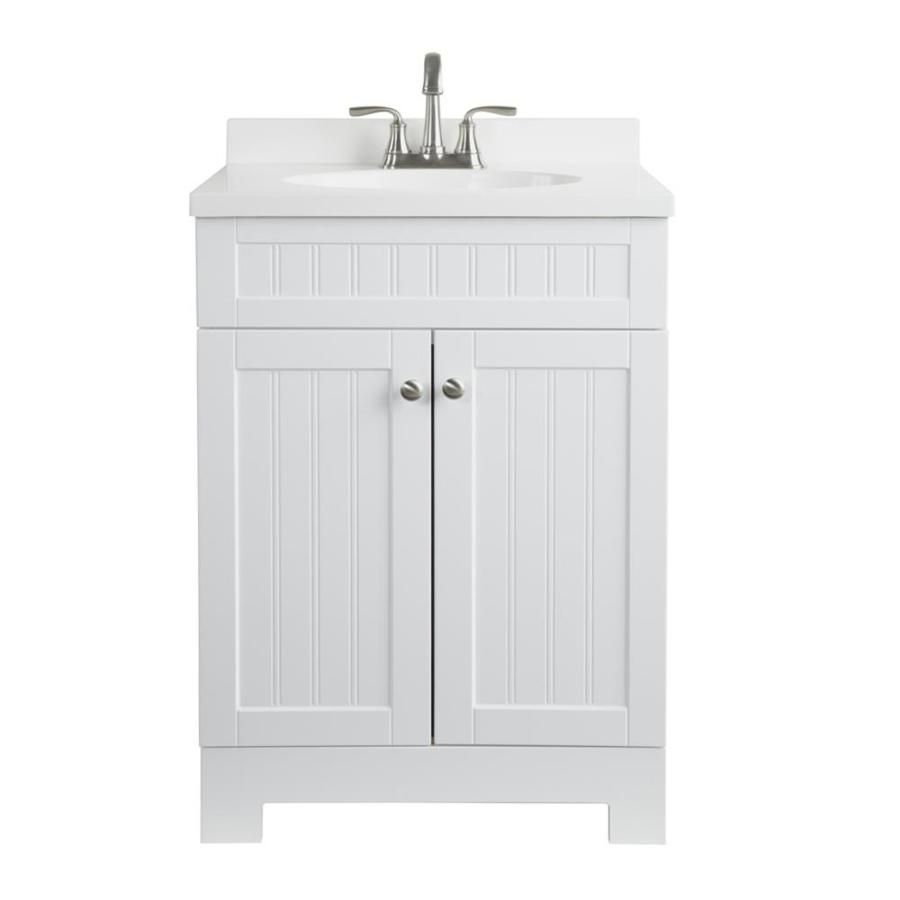 Ellenbee White Integrated Single Sink Bathroom Vanity with ...