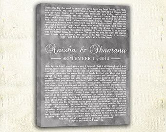 Wedding Vows Custom Canvas Print Valentine S Day Gift Idea Anniversary