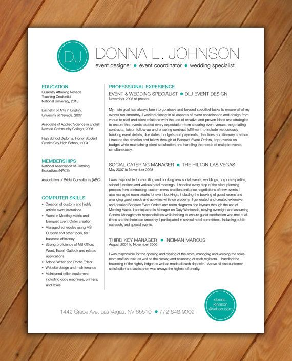 custom resume template color circle initials by rbdesign2 on etsy   35 00