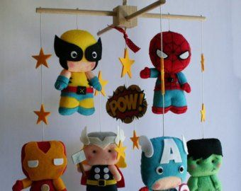 Superhero baby mobile felt mobile crib mobile adventure baby mobile super heroes nursery marvel comics nursery avengers captain america