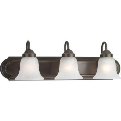 Photo of Progress Lighting 24 inch 3-light bathroom vanity lamp made of antique bronze with alabaster glass P2103-20 – The Home Depot