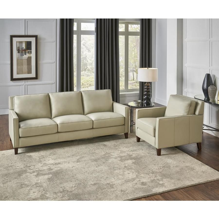 Hydeline Ashby 100 Leather 2 Piece Living Room Set Sofa And Chair Ice White Lowes Com Leather Living Room Furniture Living Room Leather Living Room Sets Furniture