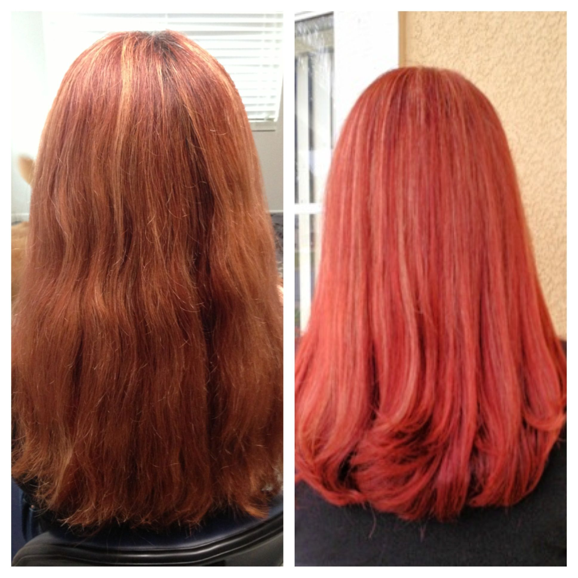 Before After Hd Red Hair Color Long Red Hair Matrix Hair Color