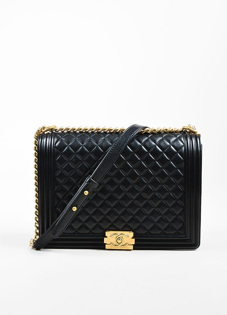 07343b00832e Chanel Black Quilted Leather Gold Hardware Large