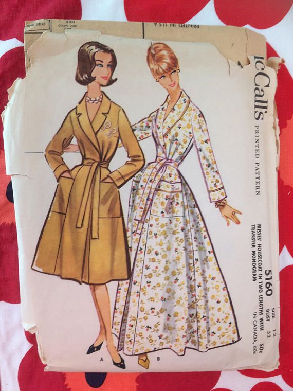 3d43d48485 Original vintage sewing pattern McCalls 5160  ©1959  Misses Housecoat in  Two Lengths with Transfer Monogram  Wrap-around housecoat in long or short  length.