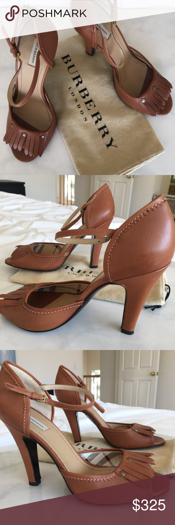 """Burberry Leather Heels Brand new, never been worn Burberry Tan Leather Heels. These heels were purchased from Neiman Marcus for $600. The outside of the heel measures 4"""", the inner part of heel measures 3"""". Leather is in excellent condition w/ beautiful brass detailing and its signature plaid on the inside of the shoe. Shoe soles show no signs of wear w/ bar code still attached. Burberry Shoes Heels"""