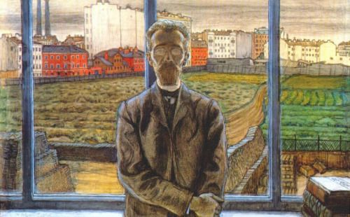 Man with Spectacles, Mstislav Dobuzhinsky - https://wp.me/p6qjkV-9iO  #Art