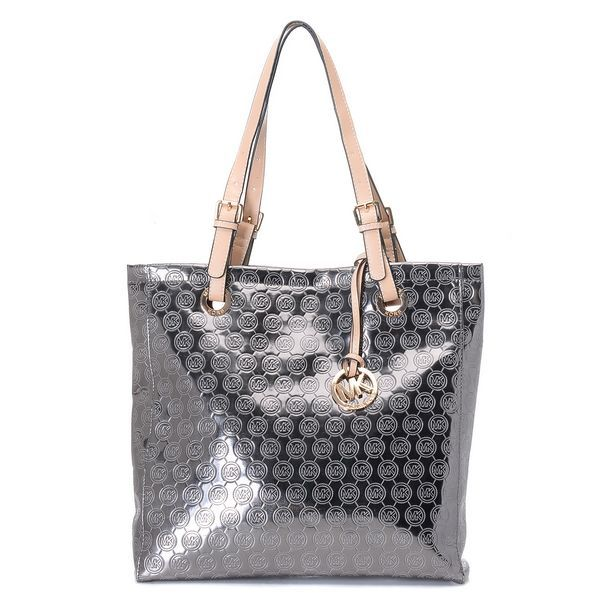 Michael Kors Monogram Mirror Metallic North South Tote Silver Products  Description * Silver mirror metallic North