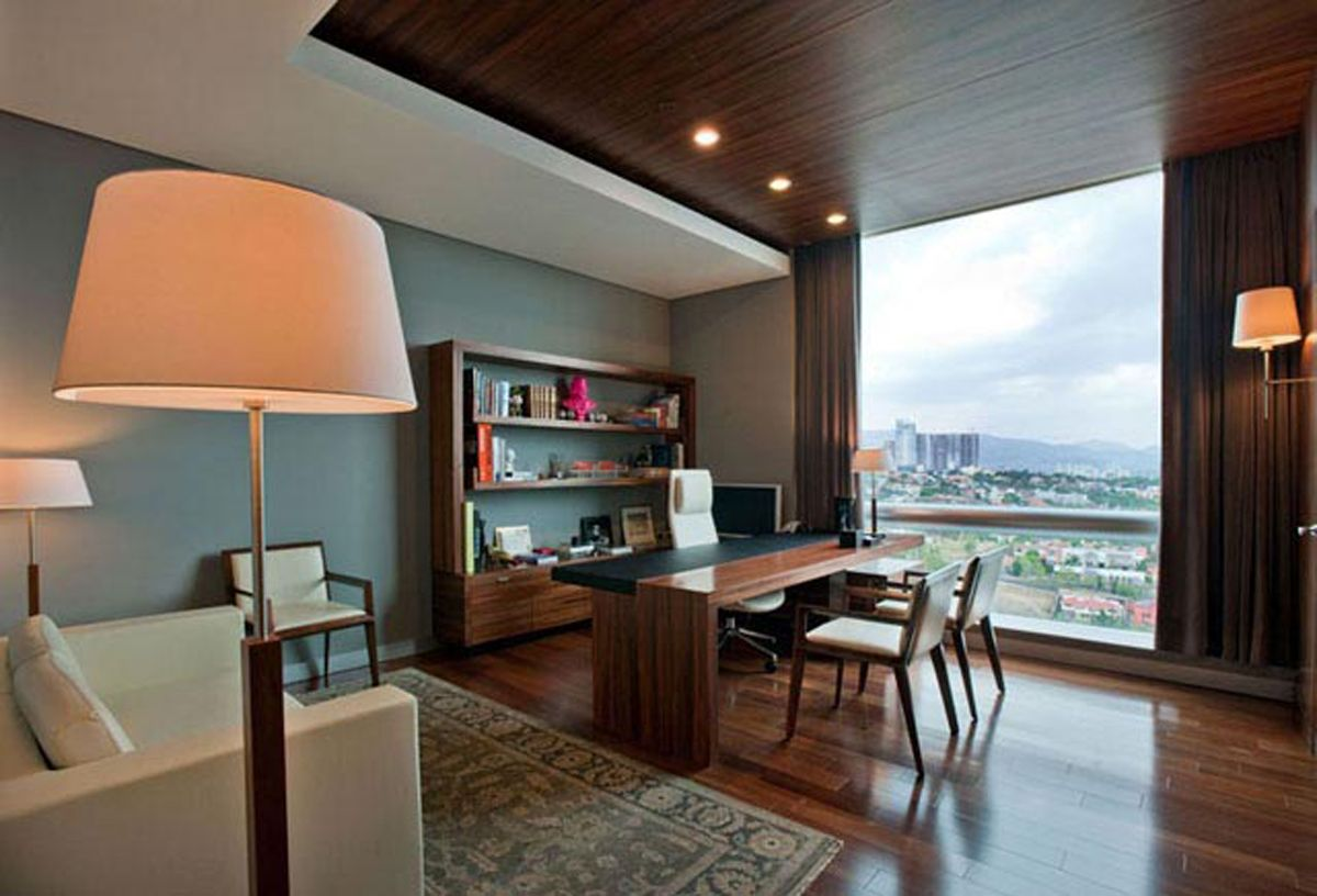 Excellent Contemporary Office Design With Wooden Material In Mexico City Largest Home Design Picture Inspirations Pitcheantrous
