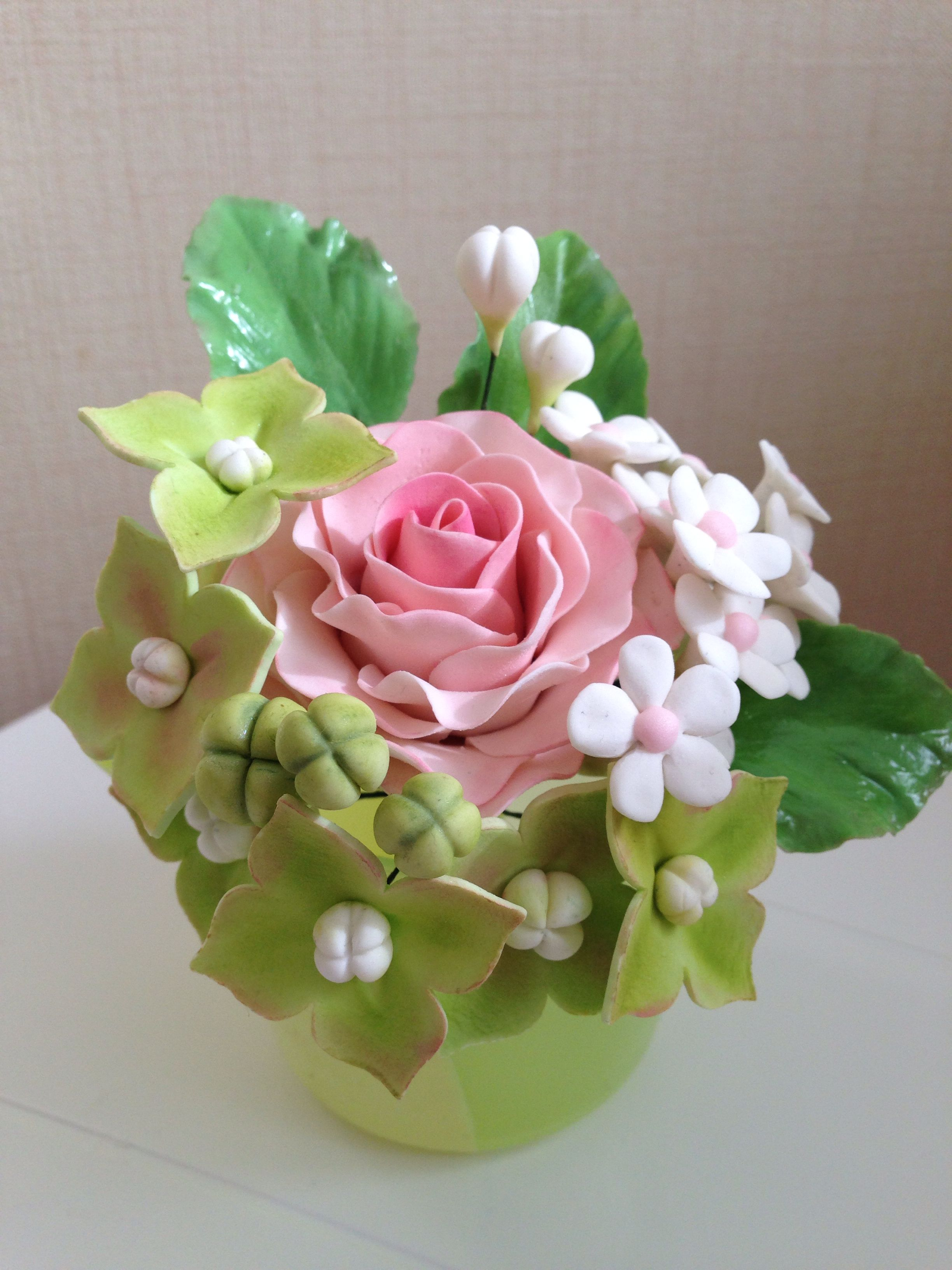 Bouquet with rose my sugar flowers pinterest sugar flowers gum paste flowers nosegay bouquet with rose izmirmasajfo
