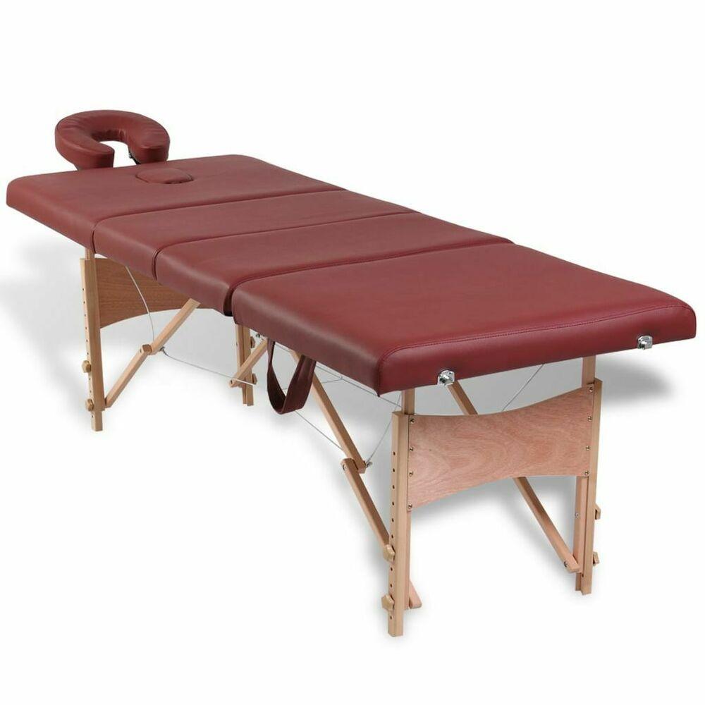 vidaXL Table de Massage Pliante Lit de massage 7 Zones Rouge Cadre