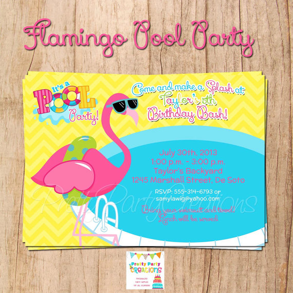 flamingo pool party invitation you print in 2018 great for