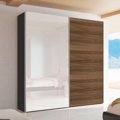 Loft Two Door Sliding Wardrobe Walnut And Mirror Dwell 995 Modern Guest Bedroom Sliding Wardrobe Guest Bedroom