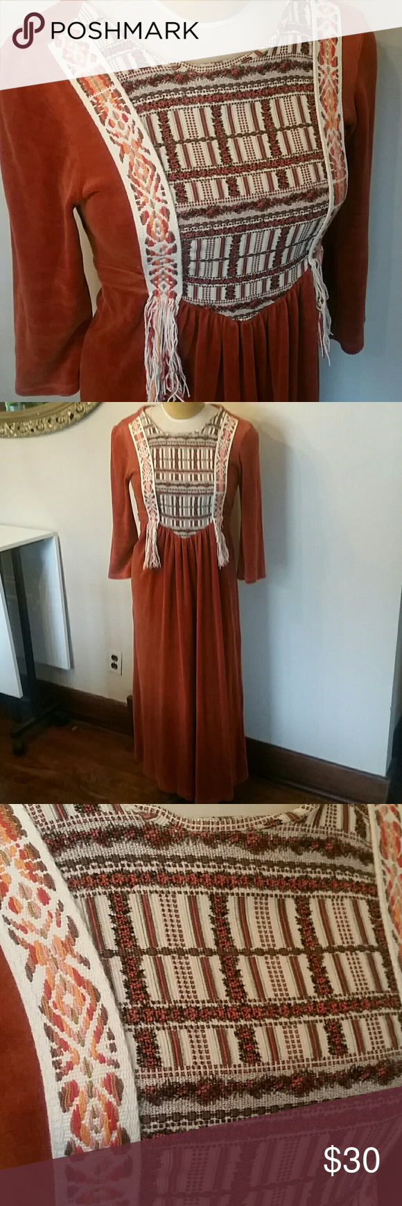 Vintage 70s maxi dress 70s Lilly Ann dress beautiful embroidery on bodice. Terrycloth orange kinda fabric. Ties in back beautiful boho piece Lilly ann Dresses Maxi