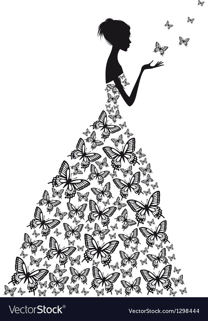 Woman In Butterfly Dress Download A Free Preview Or High Quality Adobe Illustrator Ai