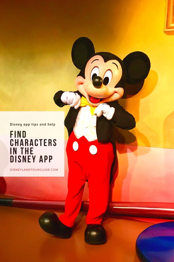 A guide to find characters in the disneyland app
