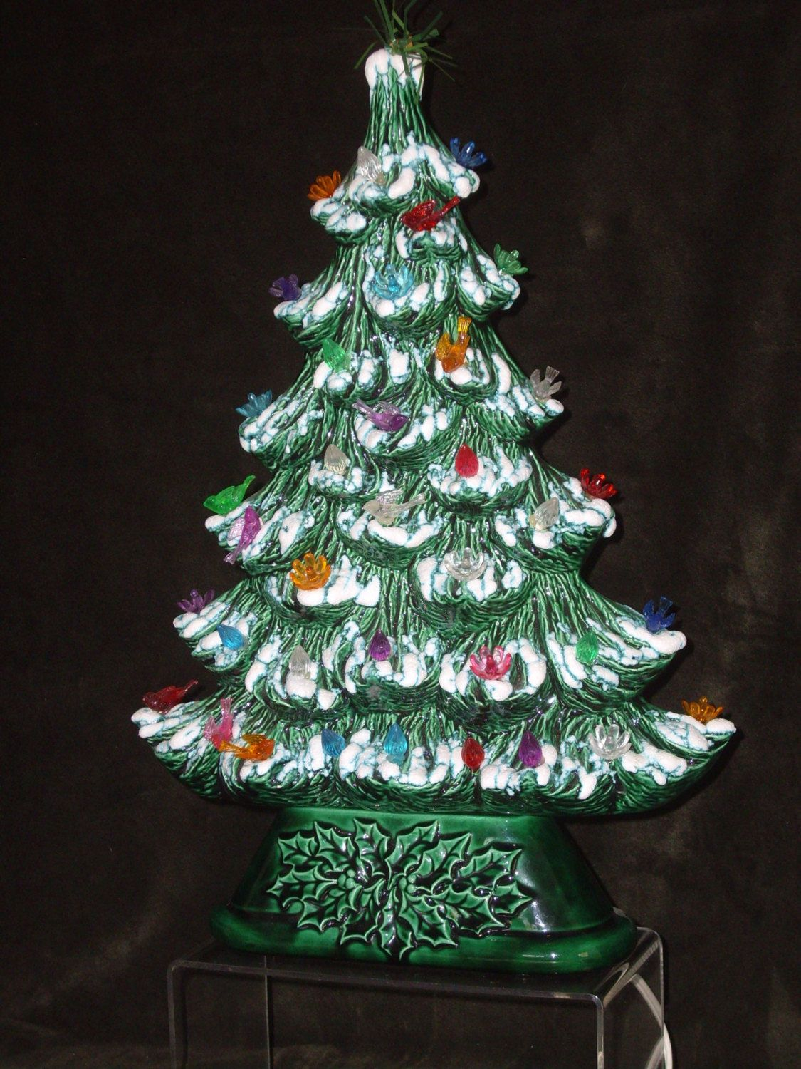 Ceramic Tabletop Christmas Tree With Lights Glamorous Unique Slim Vintage Ceramic Christmas Tree Lightup Tree Frosted Review