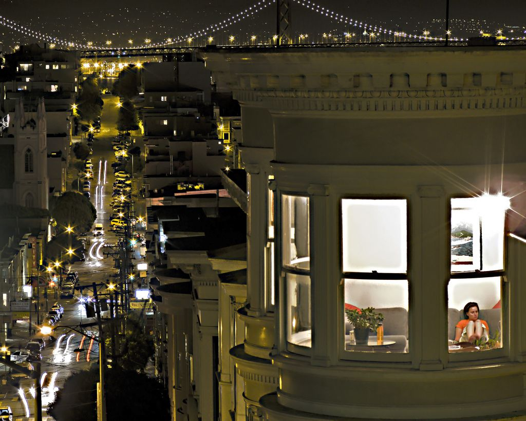 "Looking through a ""Hopper-esque"" window view at ""Window Girl"", by SheffieldStar, via flickr"