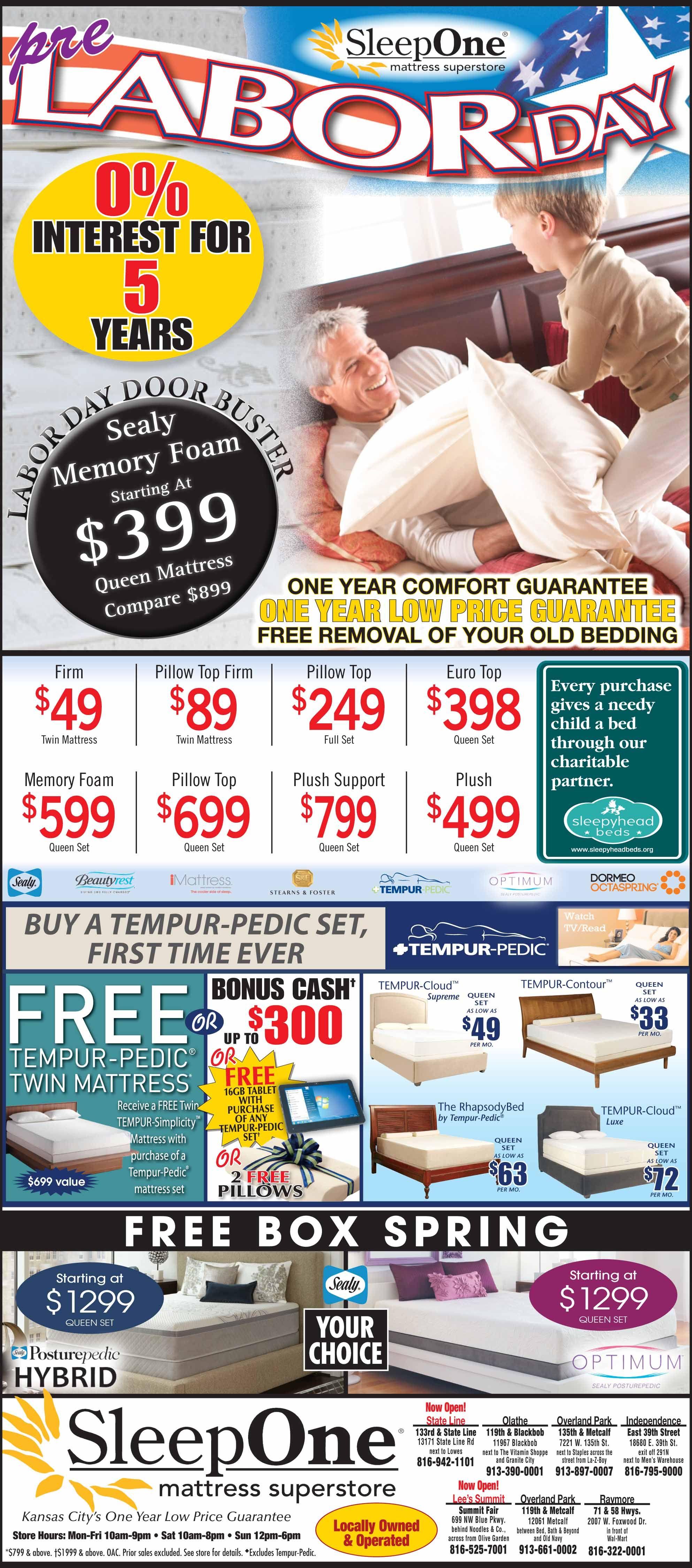 pre labor day offer at sleepone mattress superstore in kansas city