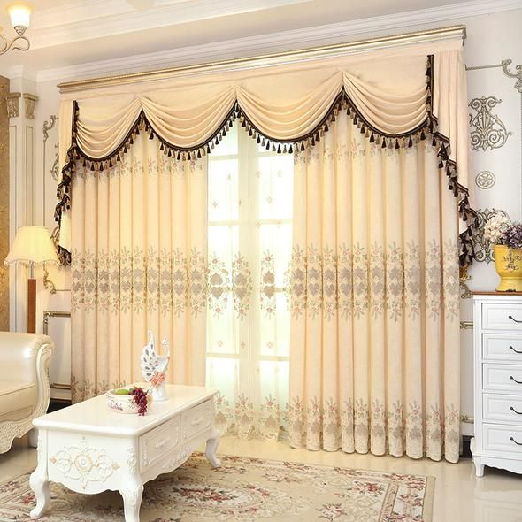 European Royal Luxury Valance Curtains, Living Room Curtains With Valance