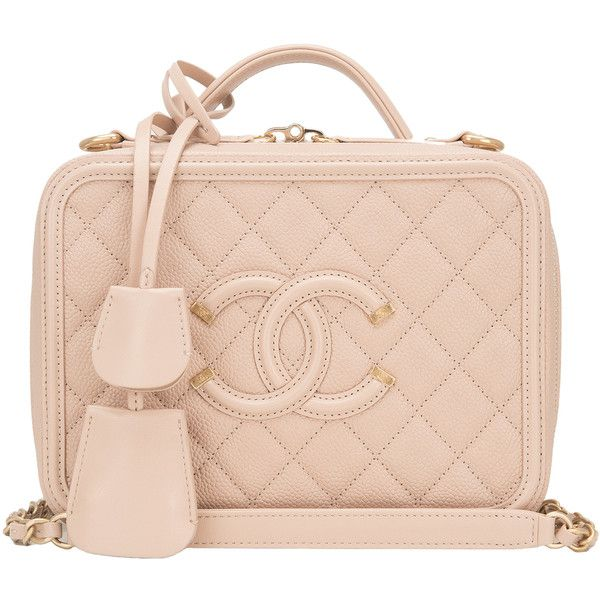 aed4db3bfd4e Pre-Owned Chanel Light Beige Caviar Small Filigree Vanity Case ...