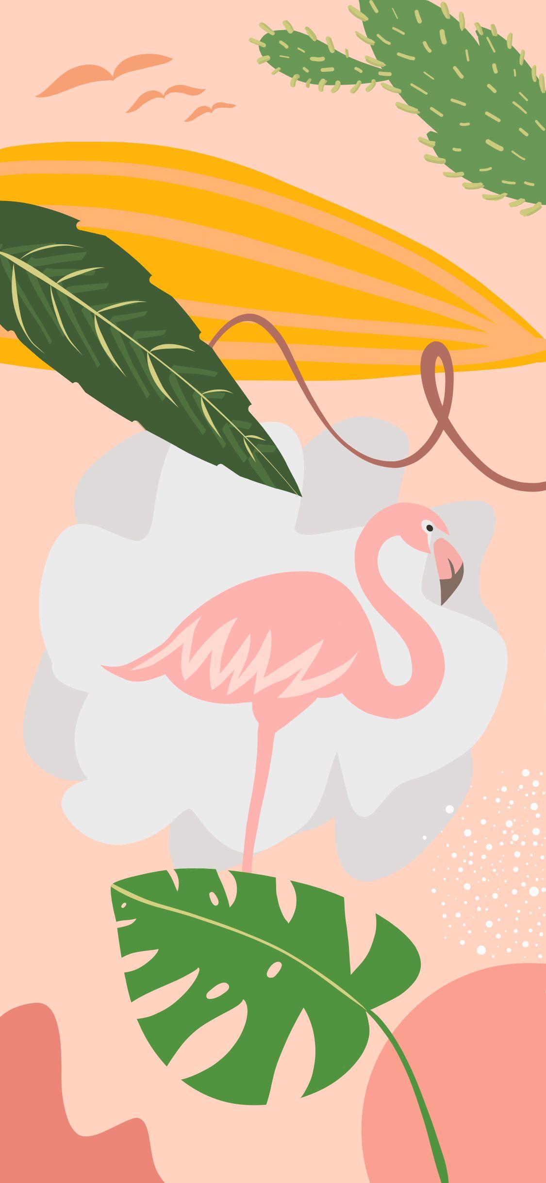 Illustration Flamingo Plant Wallpaper Lukisan Flamingo Ilustrasi Foto Abstrak