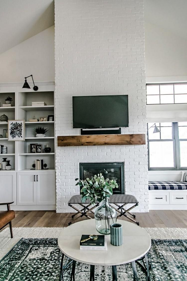 80+ Modern Rustic Painted Brick Fireplaces Inspirations #whitebrickfireplace