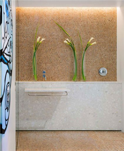 Penny Tile Is Also Made From Rounds Of Cork As Shown On This Shower Wall Cork Is Inherently Resistant To Mold And Bacte Penny Tile Cork Flooring Mosaic Tiles