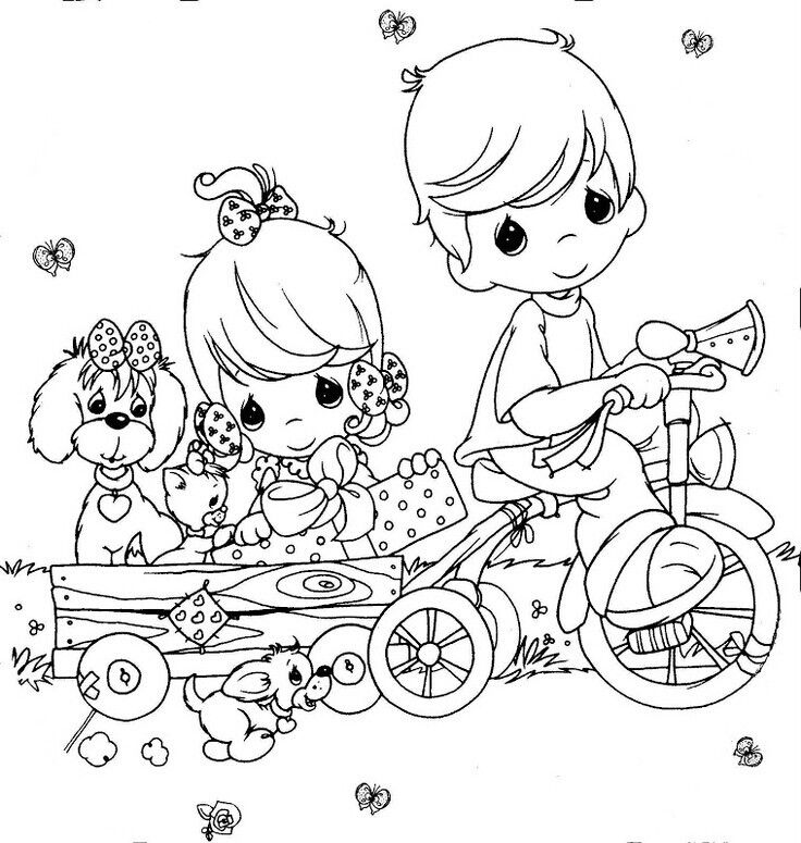 Precious Moments Coloring Page S Boy On Bicycle Pulling Girl And Puppy In Wagon Precious Moments Coloring Pages Coloring Books Coloring Pages