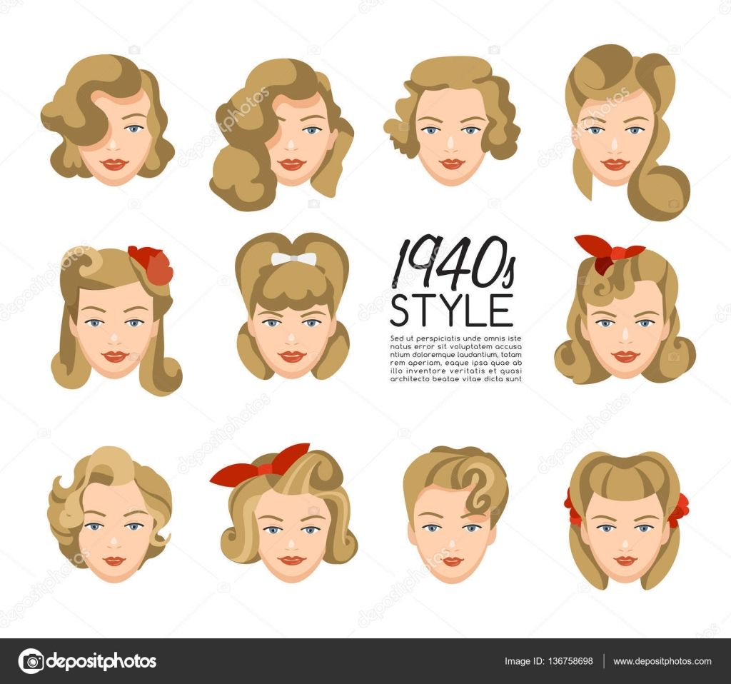 Download 1940s Vintage Hairstyle Vector Illustration Stock Illustration Vintage Frisyrer Frisyrideer