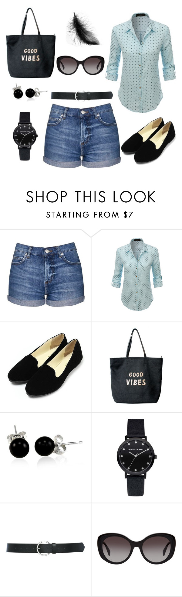 """""""Jeans shorts -classic personality styling"""" by monicazelin on Polyvore featuring Topshop, LE3NO, Venus, Bling Jewelry, M&Co and Prada"""