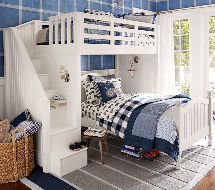 Catalina Stair Loft Bed Pbkids Loft Betten Coole Etagenbetten Gemeinsames Schlafzimmer