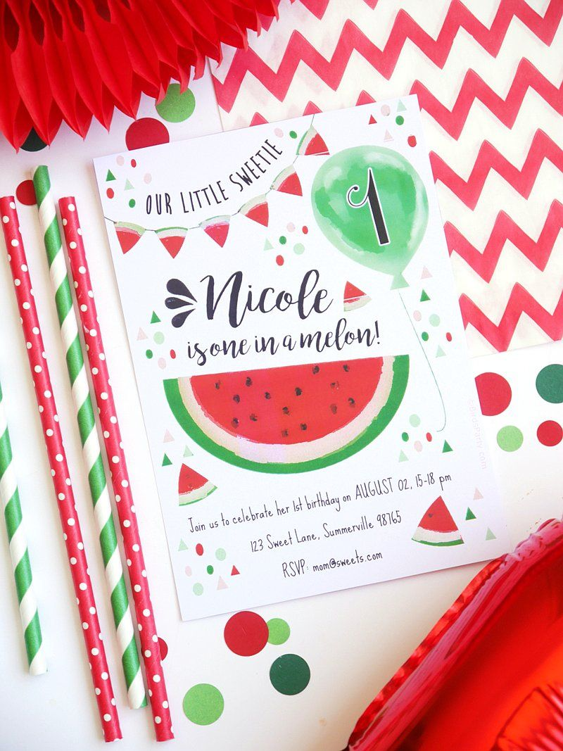 Watermelon Party Printable Invitations | Pinterest | Picnic baby ...