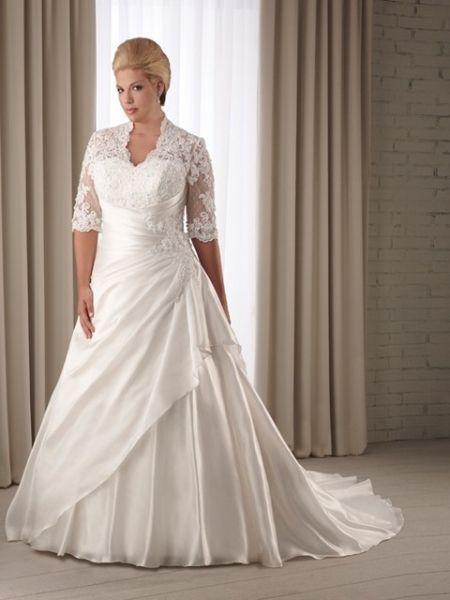 vestido de novia para gorditas linea a detalles en encaje mangas