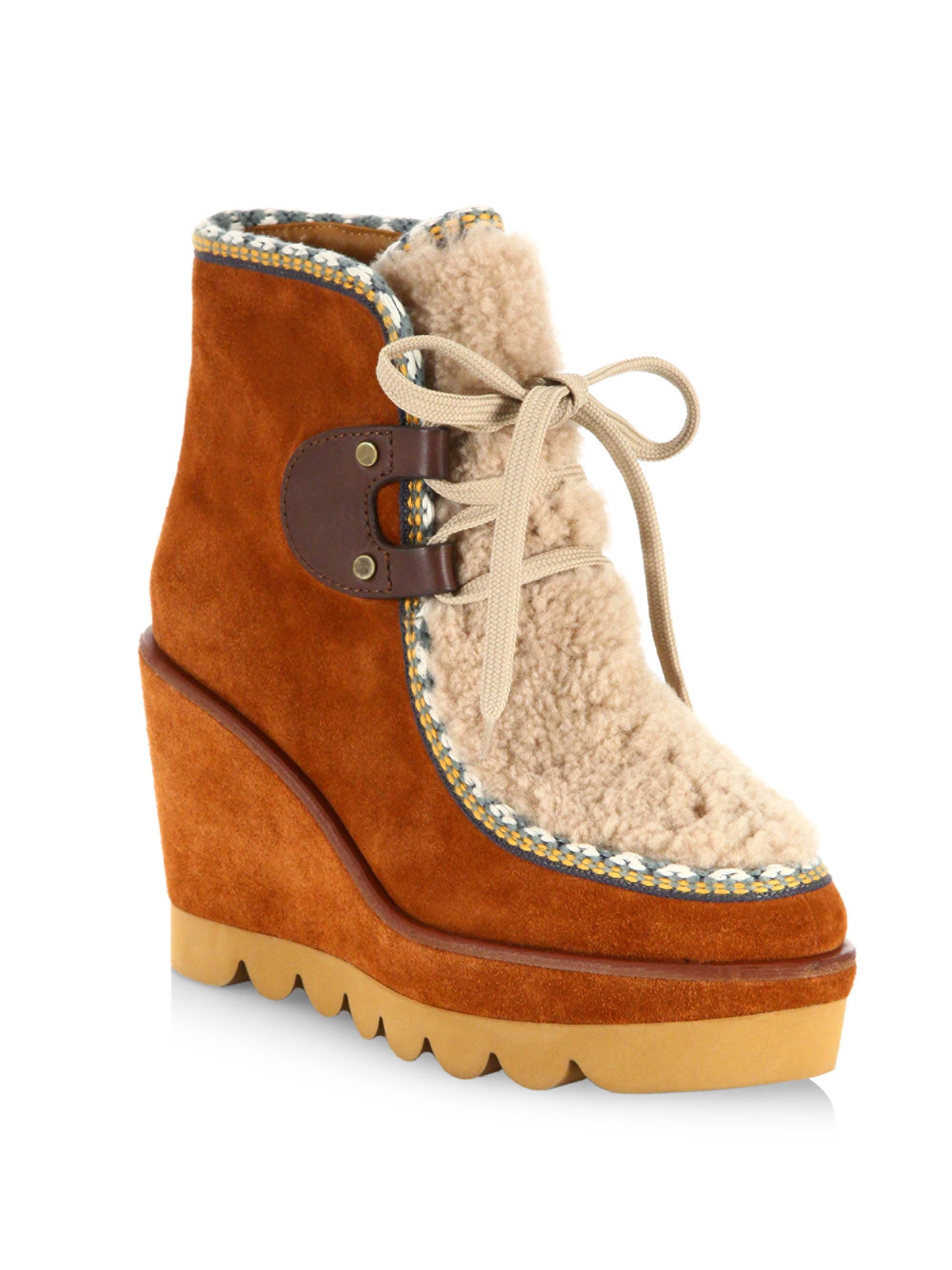 d7f50dcf76c Klaudia Shearling & Suede Wedge Booties by SEE BY CHLOÉ | Products ...