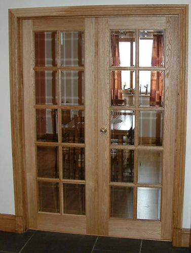 Swing Door Wooden Double Semi Glazed 10 Panel Broadleaf Timber Doors Interior Interior Oak Doors