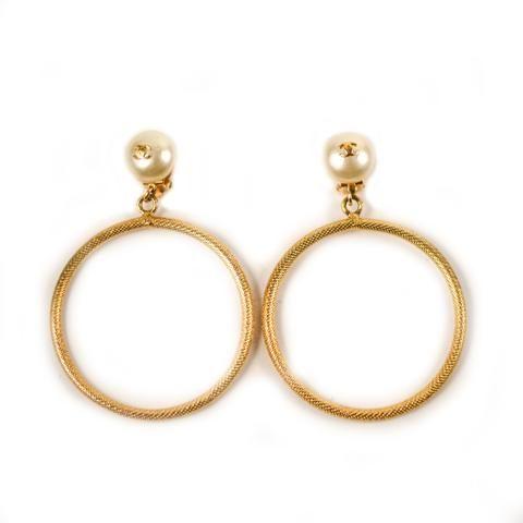 Chanel Luxury Resale Network Pearl Hoop Earrings White Gold