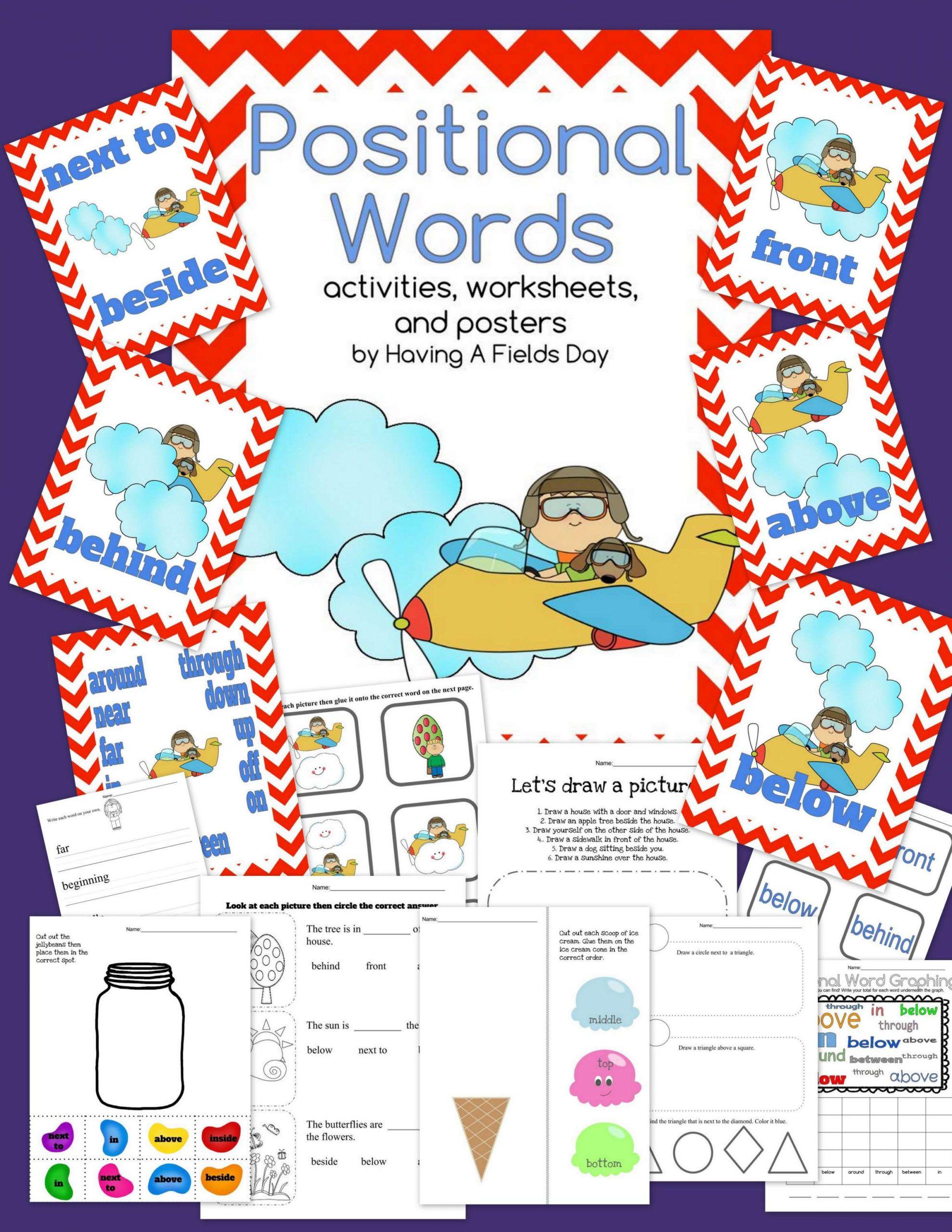 Preschool Positional Words Worksheet And Positional Words