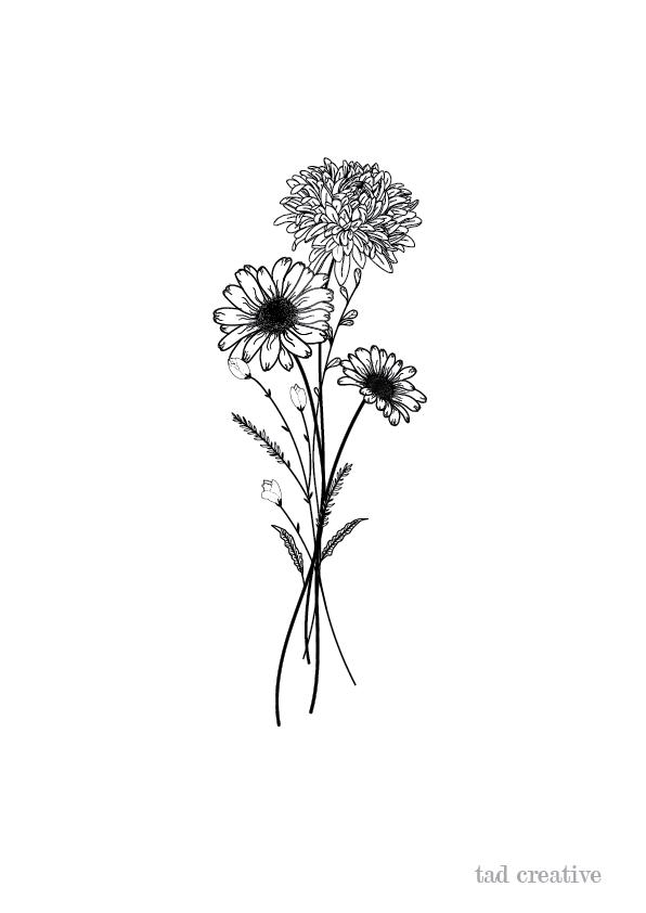 Flower Illustration In 2020 Daisy Flower Tattoos Chrysanthemum Tattoo Chrysanthemum Flower Tattoo