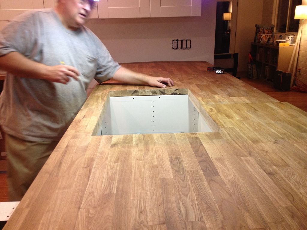 Care Of Butcher Block Part - 39: Dry Fitting The IKEA BUTCHERBLOCK Countertops. Shows Complete Kitchen  Installation And Care.
